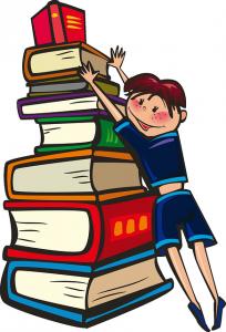 Schülerin mit Bücherstabel